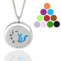 aromatherapy cats - Aromatherapy Essential Oil Diffuser Necklace LOVE Cat Locket Pendant with Gift Bag and PC Refill L Stainless Steel