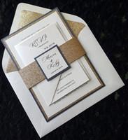 Wholesale DHL Bespoke Glitter Wedding Invitation with RSVP card