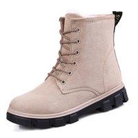 Cheap New Brand Nubuck Leather Winter Boots Women Shoes Fashion Warm Fur Snow Boots Women Flats Female Boots Autumn Winter Adults J90