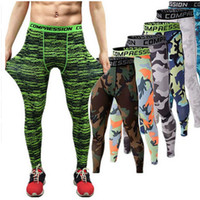 Wholesale 2016 Men compression pants sports running tights basketball gym pants bodybuilding mans joggers army green skinny leggings