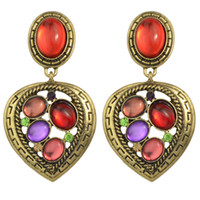 big retro style earrings - New Retro Style Bronze Color with Red Big Rhinestone Heart Drop Earrings