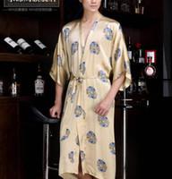 bath gown for men - hot Pure Silk satin sleepwear male natural silk robes for men spa bathrobes bath gown dressing gown for men kimono