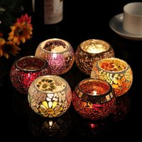 Wholesale Hot sale Glass mosaic lantern candle holder for home decoration candlestick for wedding candle holders christmas decoration