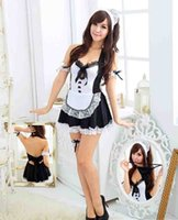 Wholesale Women France Beer Maid Uniform Outfit Cosplay Costume Fancy Hollow Out Dress Babydoll G string Thong Sexy Lingerie