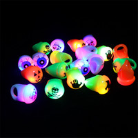 Wholesale Halloween Skull Flashing Ring Light Luminous Children Adult Rings Novelty Cartoon Color Led Kids Toys Christmas Party Gifts