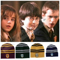 adult golf costume - Free DHL Harry Potter Beanie Ravenclaw Gryffindor Skull Caps Slytherin Hufflepuff Knit Hats Cosplay Costume Caps Striped Badge Hats M327 B