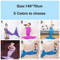 Wholesale 5 Colors cm Kids Mermaid Sleeping Bags Winter Knitted Mermaid Blankets Mermaid Tail Blanket Mermaid Tail Sleeping Bag LJJC4909