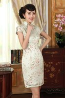Wholesale chinese cheongsam clothes gown silk qipao dress Painted Fresh flower Z0009