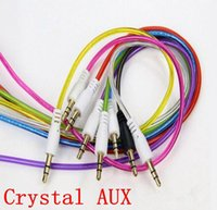 Wholesale NEW mm AUX audio Crystal cables male to male Stereo Car Extension audio Cable for MP3 for cell phone mp3 mp4 colorful