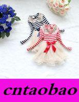 achat en gros de filles dentelle robe col bleu-Hot Sale Sequins bébé fille dentelle bandes col rond à manches longues Robes TUTU belle fille gâteau rouge bleu 2 couleurs 4pc / lot Freeship