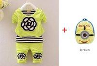 autumn snacks - Baby Clothes Autumn Winter Girls Fleece Flower Clothes Suit Minions Snack Bag Pieces Sets Pieces