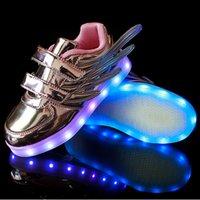 2016 filles s'allume enfants conduit chaussures lumineuses incandescent enfants occasionnels chaussures avec des ailes nouvelle simulation seule charge pour les garçons