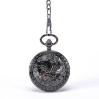 america eagles - Black Round Patriot America National Bird Flying Bald Eagle Carved Front Case Arabic Numbers White Dial Hand Wind Mehchanical Pocket Watch
