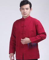 Wholesale Kung fu shirt cotton old coarse tang suit male long sleeve tai chi clothing chinese style clothes multicolor wing chun tops