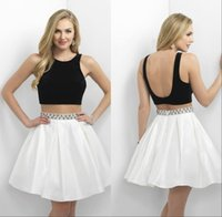 semi formal dress - Black and White Homecoming Dresses Sexy Backless Satin Skirt Beadings Wiast Sash PUffy Short Mini Skirt Semi Formal Dresses