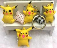 Wholesale 3D Pocket Monster Keychains Cute Cartoon Flexible Glue Pendant Car Key Chain Hot Selling Styles Quick Ship