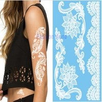 beauty body oil - New Lace White Color Flash Tattoo Face Body Paint Oil Beauty Painting Art Halloween Party Fancy Dress Makeup Tools