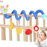 baby crib mirror - Hot Cute Infant Babyplay Baby Toys Plush Activity Spiral Bed Stroller Toy Hanging Mirror Bell Crib Rattle Toys Moon Star Flower SV009422