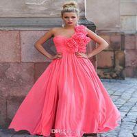 Wholesale NEW Sexy Evening Dresses One Shoulder A line Floor Length Handmade Flower Prom Dresses