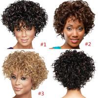 estilo occidental corto sintético pelucas de pelo rizado pelucas del peinado de la fábrica para las mujeres Negro de alta calidad a corto Cabello ondulado En barato común de las mujeres pelucas