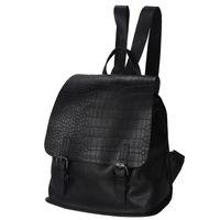 Wholesale Fancychic handbags leather shoulder bag female Korean crocodile Embossed Leather Flip black backpack England Style fashion