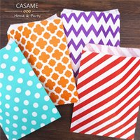 best recycled paper - wholesalle Promotion Paper bags x7 Chevron dot stripe horizontal Flower Treat Craft Paper Popcorn Bags Food Safe Party Favor Best Gift Bag