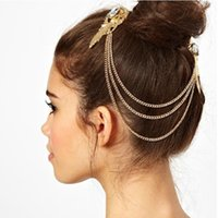 Wholesale Fashion Gold Plated Crystal Feather Charms Hair Brooch Clip Pin Cuff Chain Head Band Hair Jewelry for Women Girls Christmas Gift