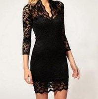 Wholesale Promotion Fashion Women Lace Dress Scalloped V Neck Ladies Sexy Slim Sleeve Cocktail Dress