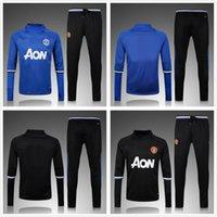 Wholesale 2016 Long Sleeve Winter Manchester Sweater Tracksuit Jogging Blue Black Soccer Sets Football Full Suits Pogba Men Sport Wear training Kits