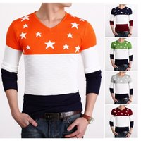Wholesale Brand Mens Sweaters Fashion Cotton Striped Sueter Hombre Star Printing Knitted Sweater Men Casual Pull Homme Marque MY08