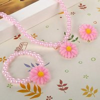 baby earrings infant - Friendly Resin Infant Nice Baby Flower Necklace Bracelet Finger Ring Set Kids Jewelry Set Children Accessories Handmade