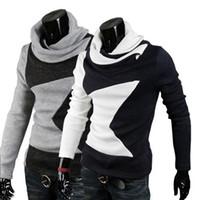 Wholesale New Mens Korean version of a pentagram design warm velvet Korea long sleeved sweater mj02