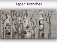 aspen homes - Hand painted Hi Q modern wall art home decorative abstract oil painting on canvas Aspen Branches x48inch Unframed