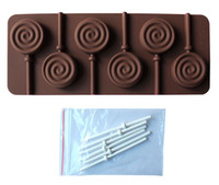Wholesale Chocolate Lollipop Molds Wholesale - Hotselling Lollipop mold silicone mould 6 lattices in circles DIY chocolate molds ice cube mold comes with a plastic rod