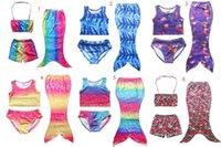 Three-piece beach goods - Girls Kids Mermaid Swimsuits Set Mermaid Bikini Sets Girls Beach Mermaid Swimwear Swimming Costumes Colors good quality DHL C634