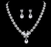Wholesale Bridal Wedding Necklace Earring Jewlry White Crystal Butterfly Rhinestone Necklace Earring Jewelry Set Hot Sale