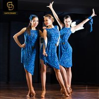 Wholesale Blue calico dress sexy backless Latin Dance Latin dance costumes Latin Dance Latin dance exercise wear new uniforms