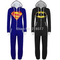 TV & Movie Costumes batman onesie - New Unisex Pyjamas Adult Pajamas Onesie Mens women Batman Superman one piece pajamas Sleepsuit Sleepwear drop shipping