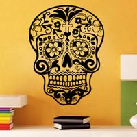 bathroom rock wall - 2016 New Sugar Skull Wall Sticker Flower Skull Punk Rock Creative Personality Removable Vinyl Wall Art Stickers Decals