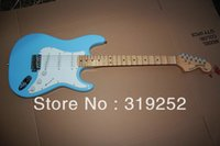big blue guitar - Groove Fretboard Signature Stratocaster with Synchronized Tremolo Sky blue big headstock Electric Guitar In Stock