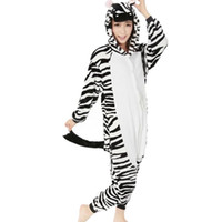 adult zebra costumes - Zebra Unisex Adult Flannel Hooded Pajamas Adults Cosplay Cartoon Animal Onesies Sleepwear For Women Men