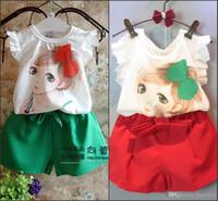 Cheap Cute Girls 2pcs Sets Pretty Make Up Lady Print Vest Tank Top T-Shirt + Chiffon Short Pants Kids Clothes Shorts Tee Shirt Suit MC0044