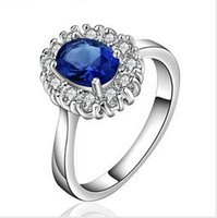Wholesale Super Offer Sterling silver plated fashion ring for women jewelry accessories nickle free bijoux women blue sapphire ring