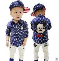 Wholesale Spring children s long sleeve shirts Mickey boy boy mickey dot velvet shirt long sleeve thick