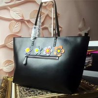Cheap YX~New brand designer black color impoted head calfskin genuine leather top A 1:1 quality with flowers luxury women casual totes handbag