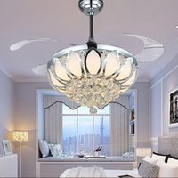 Wholesale Modern Ceiling Fan Crystal Ventilador De Teto Remote Control With Lights Invisiable LED Folding Ceiling Fan Dining Room Lamp