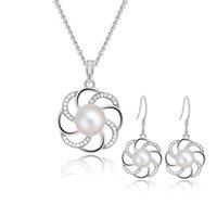 Acheter 925 ensembles de mariée-Bijoux en argent sterling mariée Set avec Cultured perles d'eau douce, Parures florales élégantes d'argent pour les femmes gros-SE00224