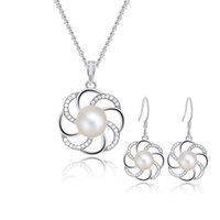 Wholesale Sterling Silver Bridal Jewelry Set with Cultured Freshwater Pearls Floral Elegant Silver Jewelry Sets for Women SE00224