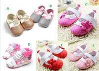 Wholesale 2016 Dot flower baby shoes star toddler canvas shoes soft princess single shoes bow gold silver bow girls leisure shoes pairs C