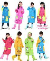 Wholesale Children raincoat cute student raincoat poncho loose green cartoon pattern backpack bit oversized silk nylon material design